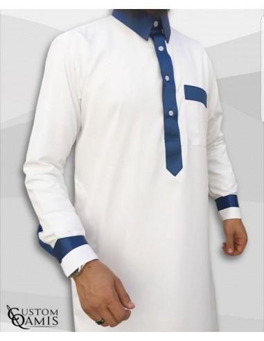 Qamis Two tone Blanc et Bleu