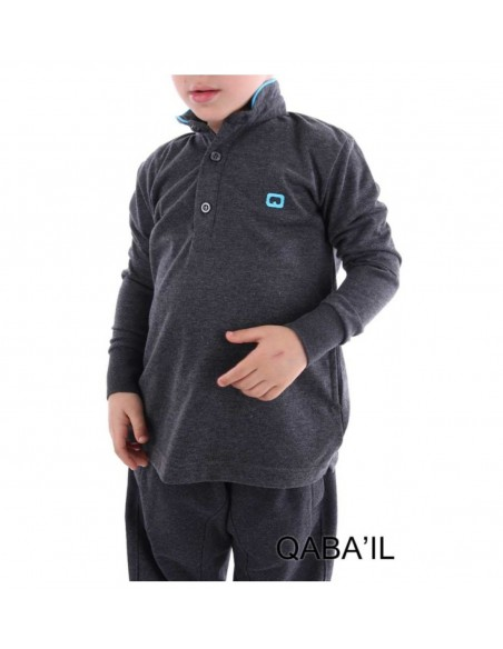 Polo manche longue Junior Gris anthracite