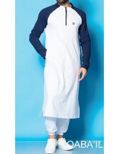 Qamis classique blanc et bleu marine
